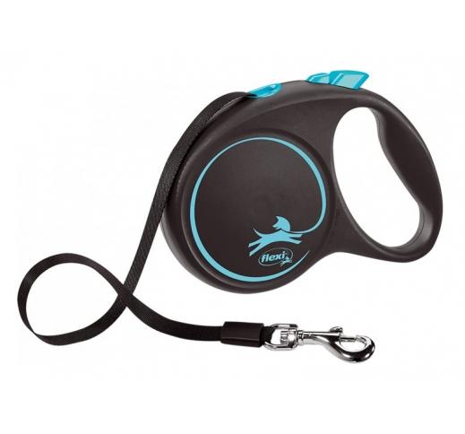 FLEXI Рулетка Black Design L ремень 5м, 50кг, синий / черный