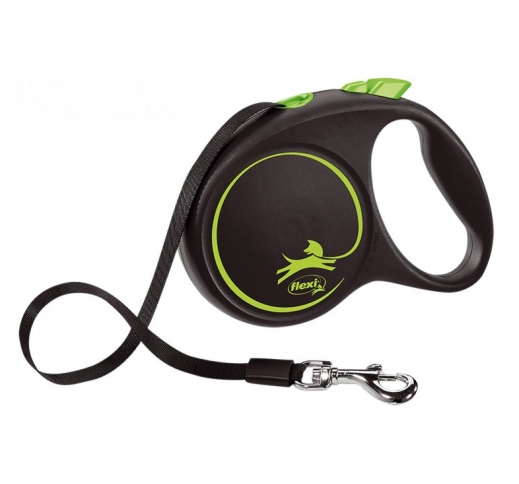 FLEXI Рулетка Black Design M ремень 5м, 25кг, зеленый /черный