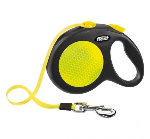 FLEXI Рулетка Black Design L ремень 5м, 50кг,  неоново-желтый / черный