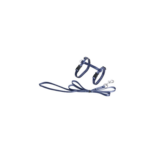 Cat Harness Grey-Blue with leash 110cm