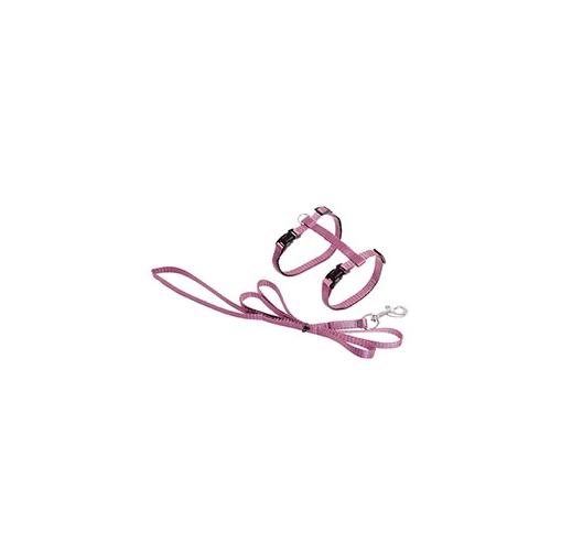 Шлейка с поводком для кошки светло-розовый