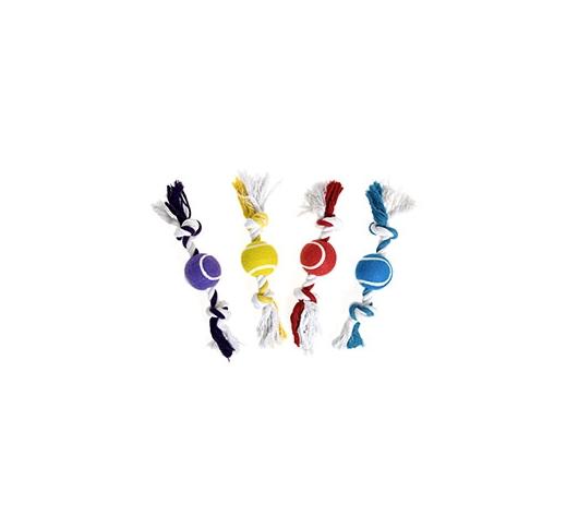 Игрушка для собак веревка с теннисным мячом 30см
