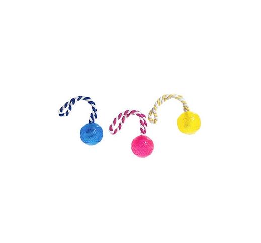 Игрушка для собак мяч на веревке, резина 6 см