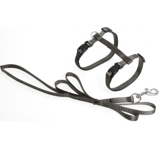 Cat Harness with Leash Grey