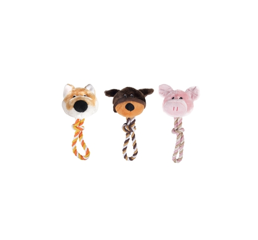 Plush Animal Head with Rope 30cm