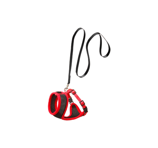 Cat Harness with Leash S 32-41cm Black/red