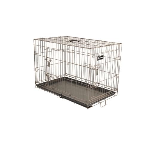 Metal Wire Cage Brown Kahe uksega pruun koerapuur 109x70x76cm.