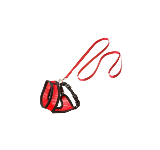 Cat Harness with Leash S 32-41cm Red/Black