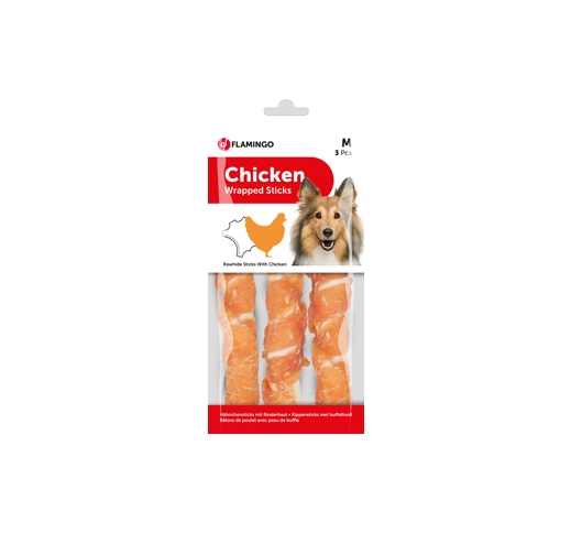 Rawhide with Chicken 3pcs 17cm