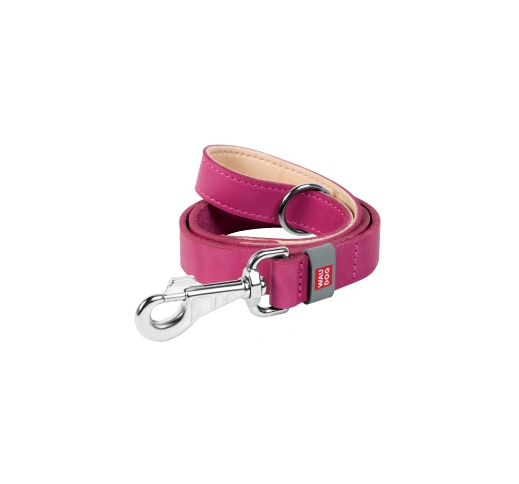 Waudog Classic Leash from Natural Leather Pink 122cm