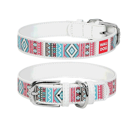 "WAUDOG Collar ""Ethno""  25mm x 36-49cm White"