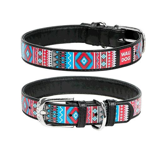 "WAUDOG Collar ""Ethno""  25mm x 36-49cm Black"
