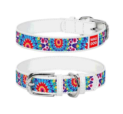 "WAUDOG Collar ""Flowers""  25mm x 36-49cm White"