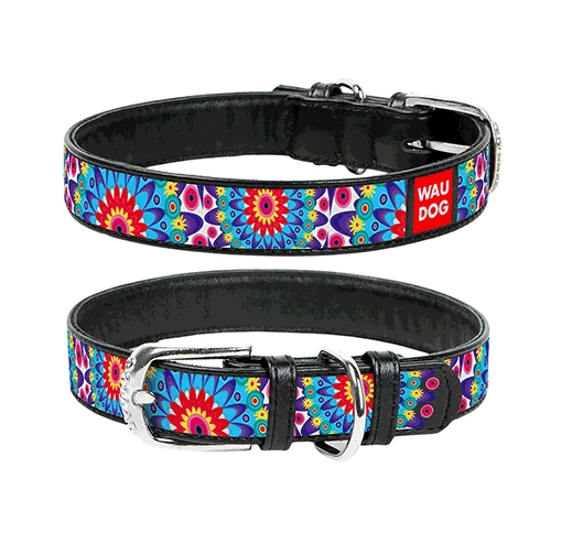 WAUDOG Kaelarihm Flowers 25mm x 38-49cm Must