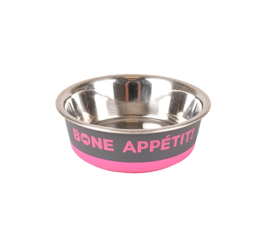 "Bowl ""Bone Apetit"" Pink 400ml 14cm"