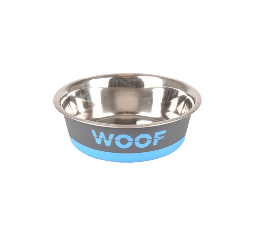 "Bowl ""Woof"" Grey/Blue 400ml 14cm"