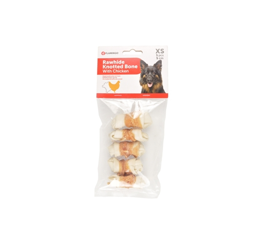 Rawhide Knotted Bone with Chicken (5pcs) 5cm