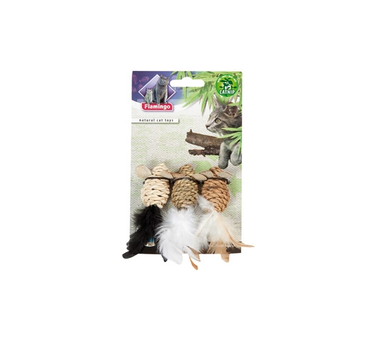 Natural Cat Toy with Feathers 3pcs