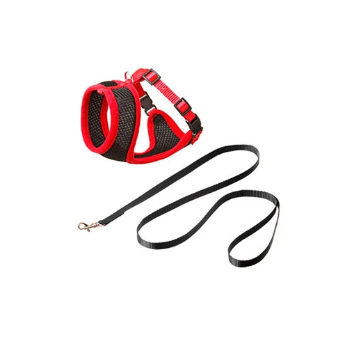 Cat Harness with Leash L Red