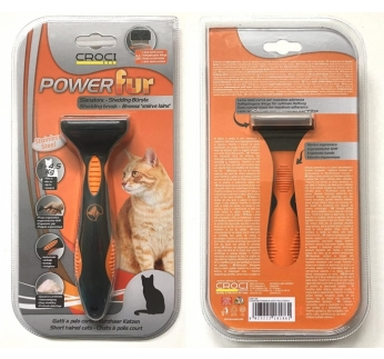 Powerfur Shedding Brush for Short Haired Cats S