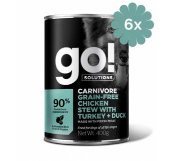 6x GO! Carnivore консервы беззерновые с тушеной курицей, индейкой и мясом утки 400g
