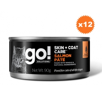 12x Go! Skin + Coat Grain Free Pate for Cats with Salmon 90g