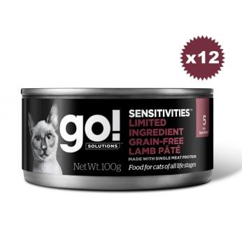 12x Go! консервы беззерновые с ягненком для кошек с чувствительным пищеварением 100г