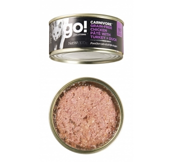 12x GO! Carnivore Chicken, Turkey + Duck Pate for Cats & Kittens 100g