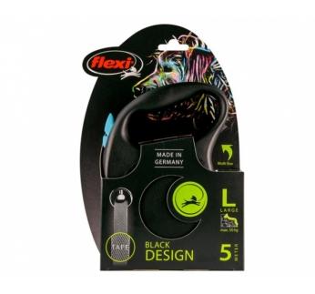 Flexi L Black Design Must/Sinine Lint 5m 50kg