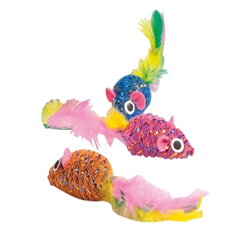 Cat Toy Mouse with Feathers 5cm