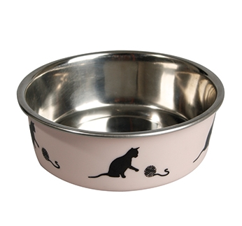 Stainless steel bowl Bella for cats Pink 160ml