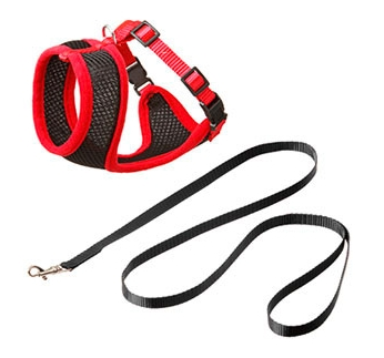 Cat Harness with Leash L Red L 43-55cm